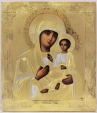 Старинная икона Богоматерь «Тихвинская» в серебряном окладе