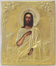 Старинная икона «Иоанн Креститель» в окладе