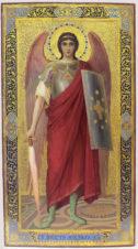 Старинная икона «Святой архангел Михаил — небесный воевода» в стиле модерн