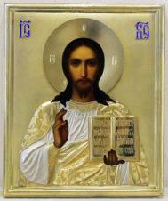Антикварная икона «Господь Вседержитель» (Спаситель) в серебряном окладе в стиле модерн