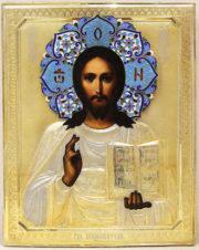 Антикварная икона «Господь Вседержитель» в окладе с эмалевым венцом