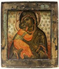 Старинная икона «Богоматерь Владимирская»