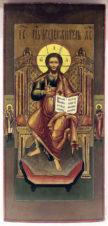 Антикварная икона «Господь Вседержитель на троне»