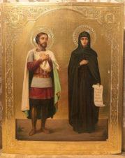 Антикварная икона «Святой князь Александр Невский и святая преподобная Анастасия»