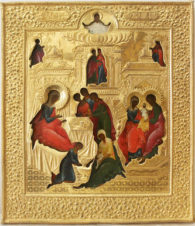 Старинная икона «Рождество Пресвятой Богородицы» в золоченом окладе