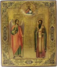 Старинная икона «Святой Василий Великий и Ангел Хранитель»