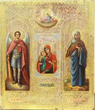 Антикварная икона «Святой Архангел Михаил, Пресвятая Богородица Троеручица, Святая Праведная Анна»