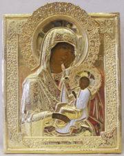 Старинная икона Божья Матерь «Утоли мои печали» в серебряном окладе