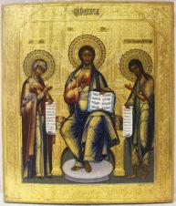 Старинная икона «Господь Вседержитель с предстоящими Богоматерью и Иоанном Крестителем (Деисус)»