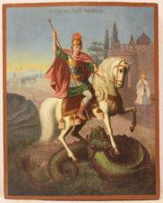 Старинная икона «Георгий Победоносец»