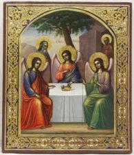 Старинная икона «Святая Троица» (Ветхозаветная)