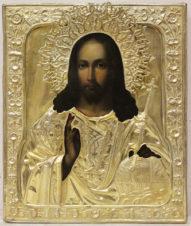 Старинная икона «Господь Вседержитель с державой и скипетром» в окладе с растительным орнаментом
