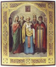 Старинная икона «Николай Чудотворец, святая мученица Александра, святой князь Владимир, святая мученица Лидия, святой блаженный Николай Кочанов»