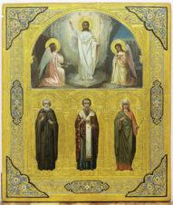 Антикварная икона «Воскресение Христово, святой преподобный Иоанн, Василий Парийский и великомученица Ирина»