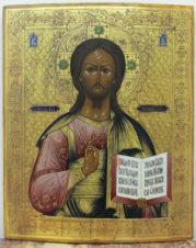 Старинная икона «Господь Вседержитель» на золотом фоне