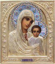 Антикварная икона «Богоматерь Казанская» в окладе с эмалью
