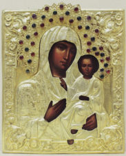 Антикварная икона «Богоматерь Смоленская» в окладе с драгоценными камнями