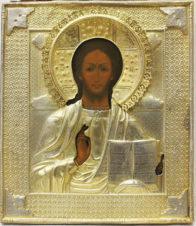 Старинная икона «Господь Вседержитель» в серебряном окладе