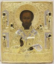 Старинная икона «Святитель Николай Чудотворец» в серебряном окладе