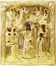 Старинная икона «Святой Роман Сладкопевец и Покров Богородицы»