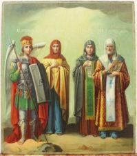 Старинная икона «Избранные Святые» (Святой Михаил Архангел, Святая Праведница Анна, Святая Параскева, Святой Петр Митрополит)