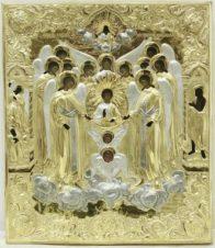 Мастер Колотошин А.Ф. Старинная икона «Собор архистратига Михаила» в серебряном окладе