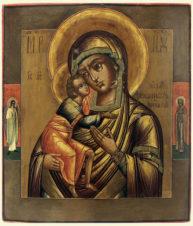 Старинная икона «Богоматерь Феодоровская (Федоровская)» с предстоящими Ангелом Хранителем и святой Анной