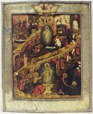 Старинная икона «Воскресение Христово» в окладе