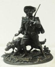 Бронзовая скульптура «Охотник с собакой»
