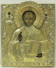 Антикварная икона «Святитель Николай Чудотворец» в окладе
