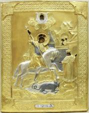 Старинная икона «Святой Георгий Победоносец» в окладе