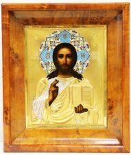 Антикварная икона «Господь Вседержитель» в окладе с перегородчатой эмалью