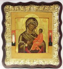 Старинная икона «Богоматерь Тихвинская» с предстоящими