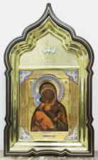 Фабрика Кузмичева А.И. Старинная икона «Богоматерь Владимирская» в окладе с эмалью