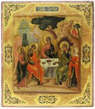 Антикварная икона «Троица Ветхозаветная (Гостеприимство Авраама)»