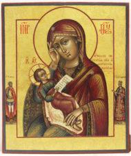 Старинная икона Божьей Матери «Утоли мои болезни» с предстоящими святыми