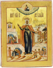 Старинная икона «Святая великомученица Варвара со сценами жития»