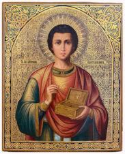 Старинная икона «Святой великомученик Пантелеймон»