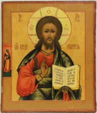 Старинная икона «Господь Вседержитель» с предстоящим мучеником Власием