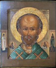 Старинная икона «Николай Чудотворец» с предстоящими