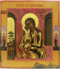 Старинная икона «Образ Пресвятой Богородицы Взыскание погибших» с предстоящими святыми мученицами Татьяной и Агафьей