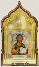 Антикварная икона «Господь Вседержитель в окладе с эмалью»