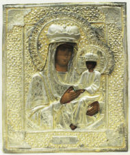 Старинная икона Богоматери «Споручница грешных» в окладе