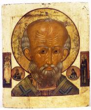 Старинная икона «Николай Чудотворец оплечный»