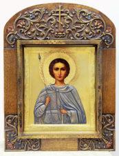 Старинная икона «Великомученик Димитрий Солунский» в серебряном окладе