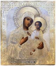 Старинная икона «Богоматерь Иверская» в окладе