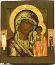 Старинная икона «Казанская Пресвятая Богородица» с предстоящими святым Ангелом Хранителем и мученицей Татьяной