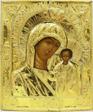 Старинная икона «Богоматерь Казанская» в серебряном окладе