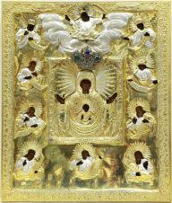 Старинная икона «Курская Коренная Пресвятая Богородица «Знамение»»