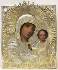 Старинная икона «Богоматерь Казанская» в окладе в русско-византийском стиле